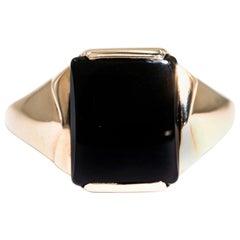 Rectangular Black Onyx 9 Carat Yellow Gold Mens Vintage Signet Ring