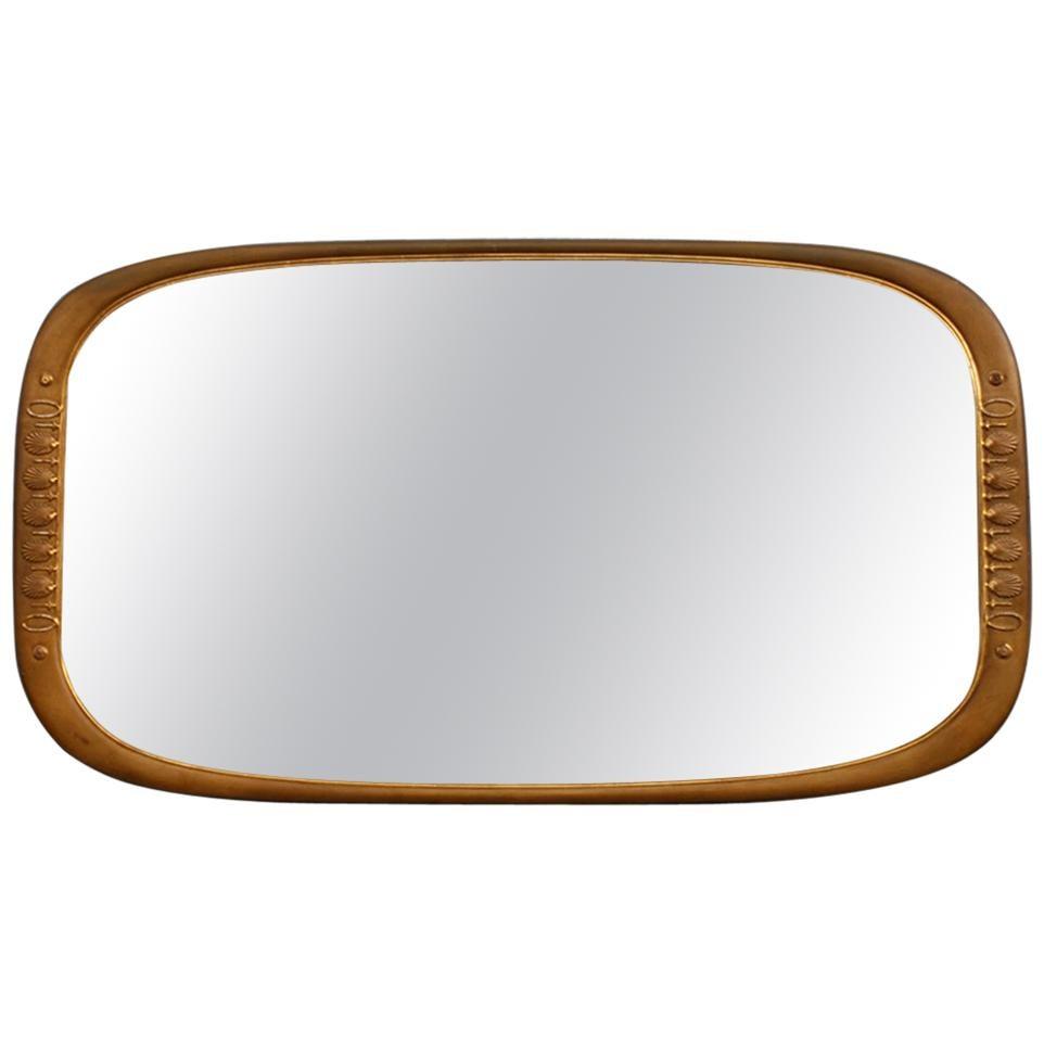 Rectangular Borsani Style Wall Mirror Sculpture 24-Karat Gold Italian Design