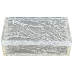 Rectangular Box Ice Effect Lucite, Willy Rizzo Style, Italy, 1970s