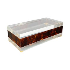 Rectangular Box in Tortoiseshell Details and Lucite, Italy, 1970s