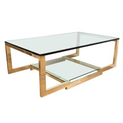 Rectangular Brass and Glass Coffee Table