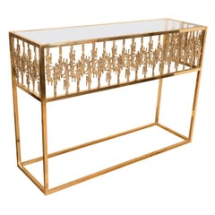 Rectangular Brass and Glass Console
