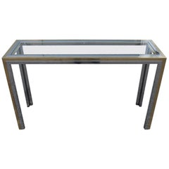 Rectangular Brass and Steel Console Italian Design Romeo Rega Minimal Glass Top