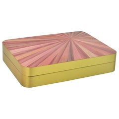 Rectangular Brass Box with a Pink Straw Marquetry Lid by Ginger Brown
