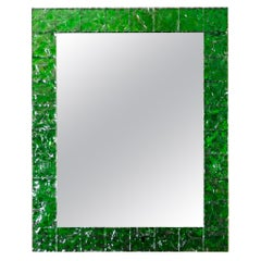 """Rectangular Brass Mirror Featuring a Surround of Green """"Ice"""" Glass Squares"""