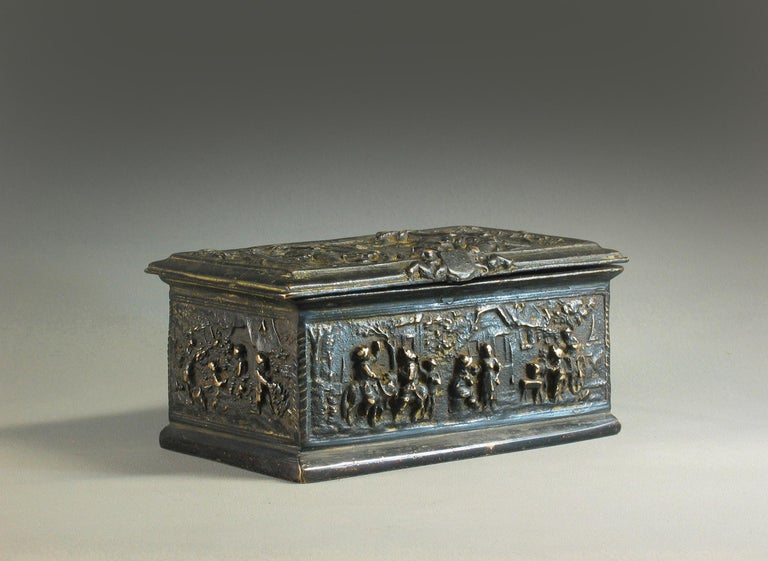 Rectangular Bronze Casket, French, 19th Century For Sale 5