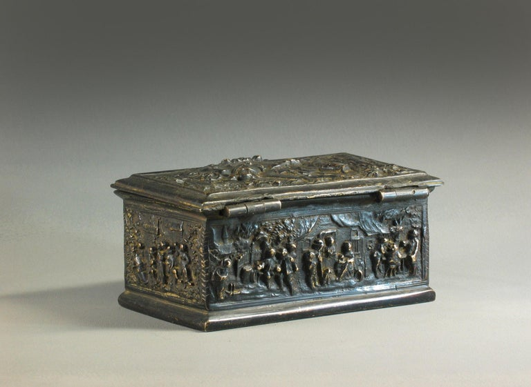 Dutch Colonial Rectangular Bronze Casket, French, 19th Century For Sale