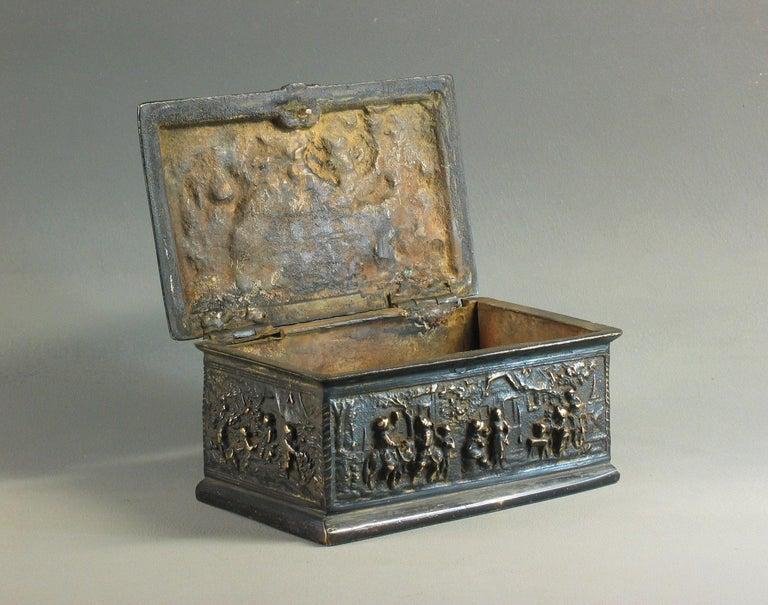Cast Rectangular Bronze Casket, French, 19th Century For Sale