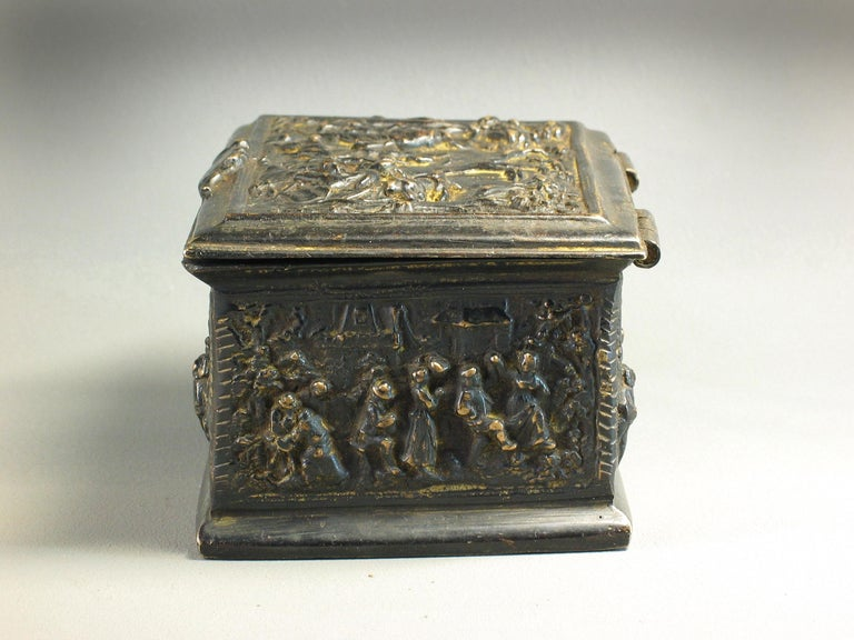 Rectangular Bronze Casket, French, 19th Century For Sale 1