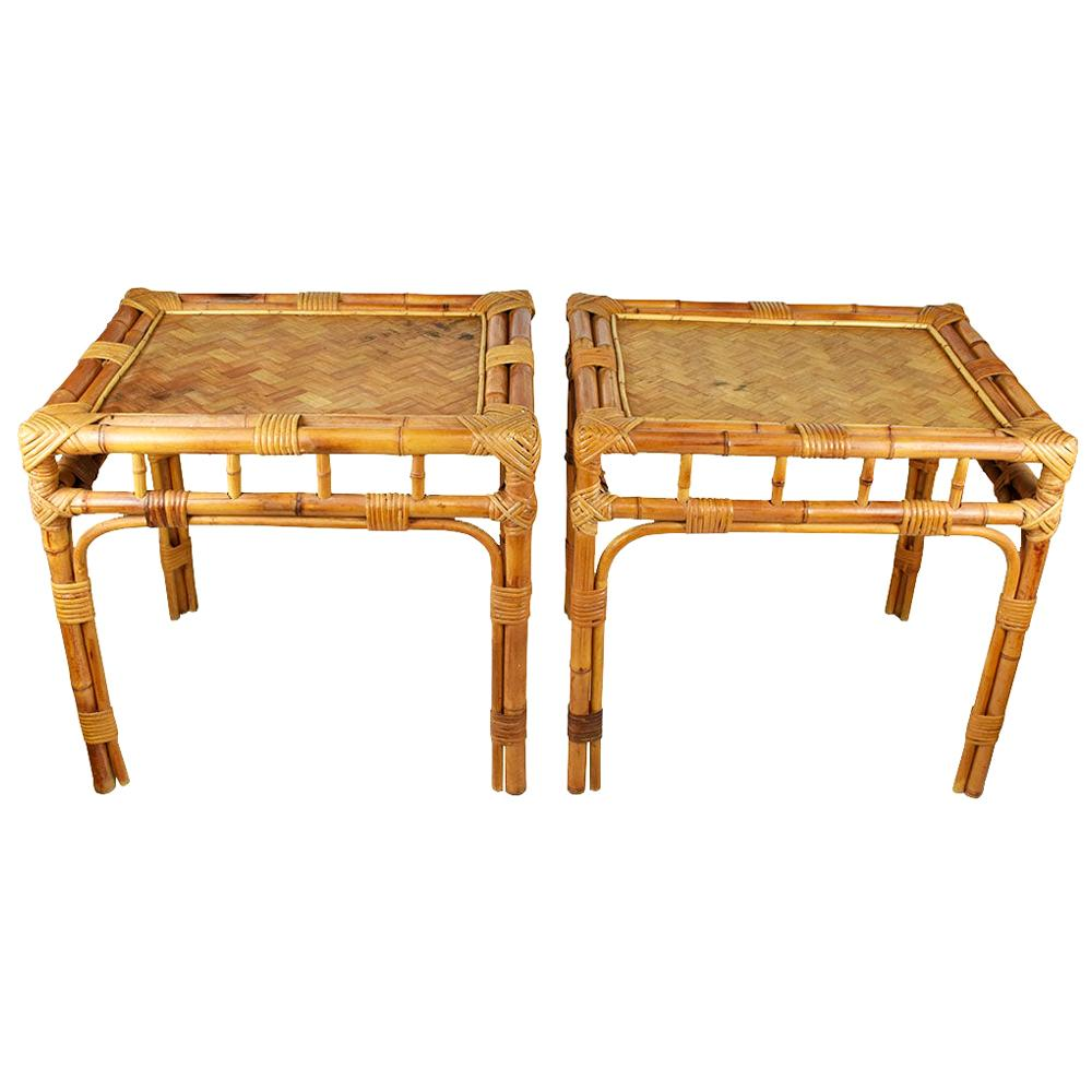 Rectangular Brown Bamboo Rattan Wrapped Side Tables after Franco Albini, a Pair
