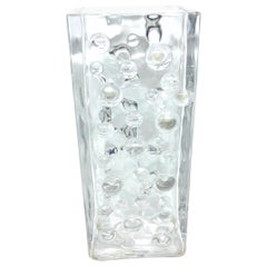 Rectangular Bubble Glass Vase by WMF Glas in Clear Color, circa 1970s