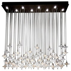 Rectangular Canopy Clear Star Chandelier by Studio Bel Vetro