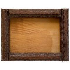 Rectangular Carved Wood Tramp Art or Prison Art Hanging Photo Frame, 1800s