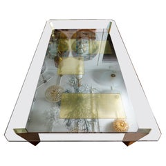 Rectangular Chrome Glass Top Coffee Table with Brass Inlays