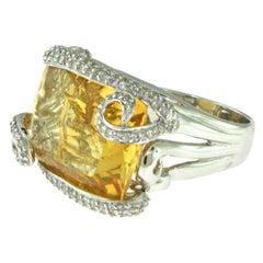 Rectangular Citrine and Diamond in 18 Karat White Gold Swirl Cocktail Ring