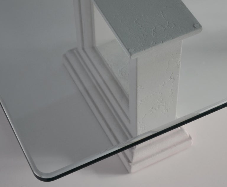 Modern Rectangular Coffee Table Crystal Glass Top Carved Stone Bases Handmade in Italy For Sale