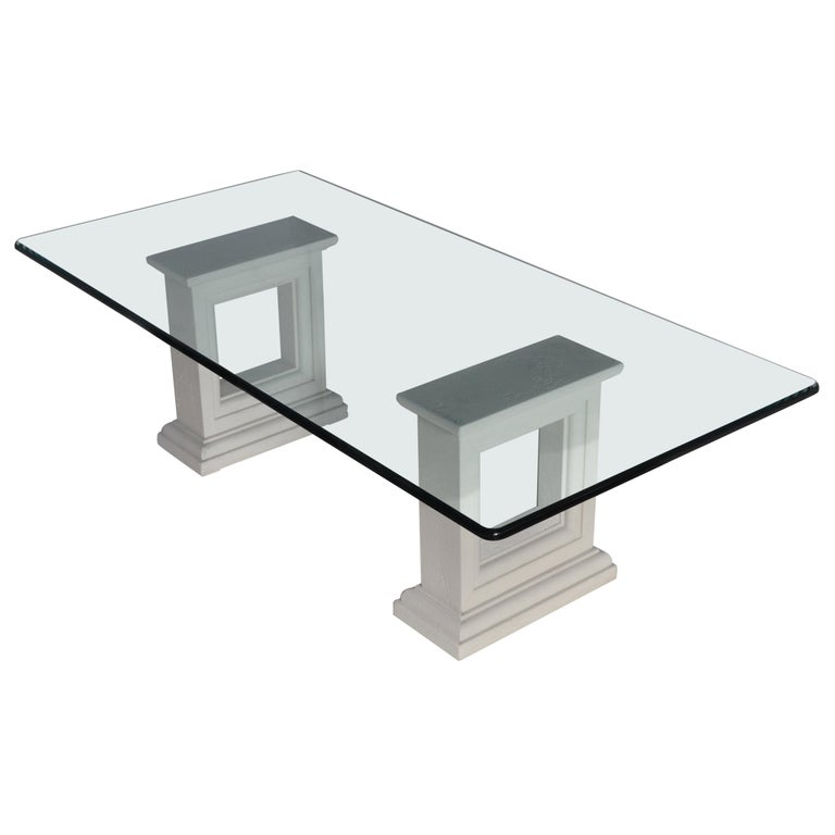 Rectangular Coffee Table Crystal Glass Top Carved Stone Bases Handmade in Italy For Sale
