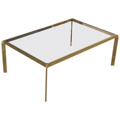 Rectangular Coffee Table in Gilded Brass and Glass Top Bontempi, 1970s, Italian