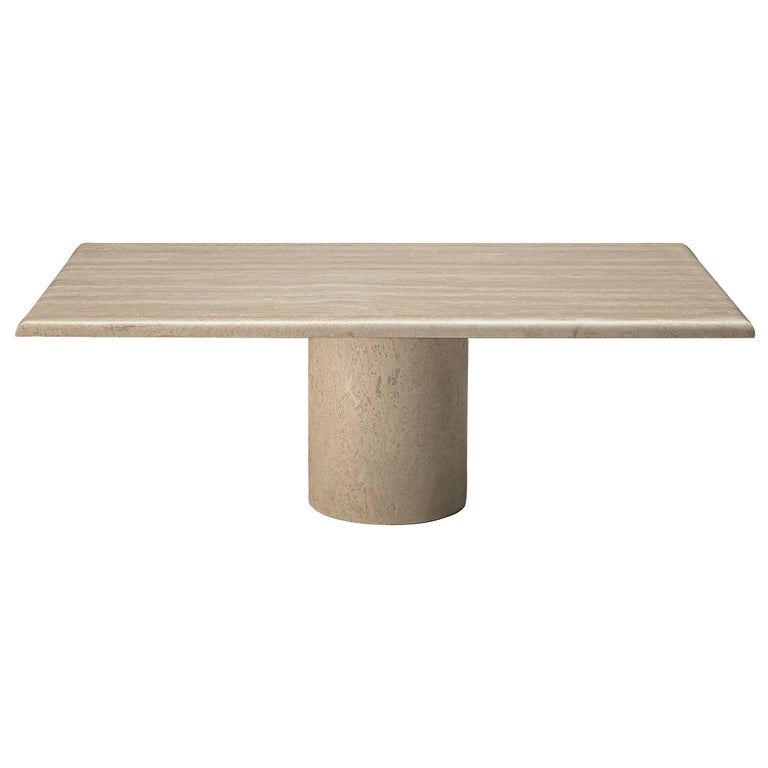 Rectangular Coffee Table in Travertine For Sale