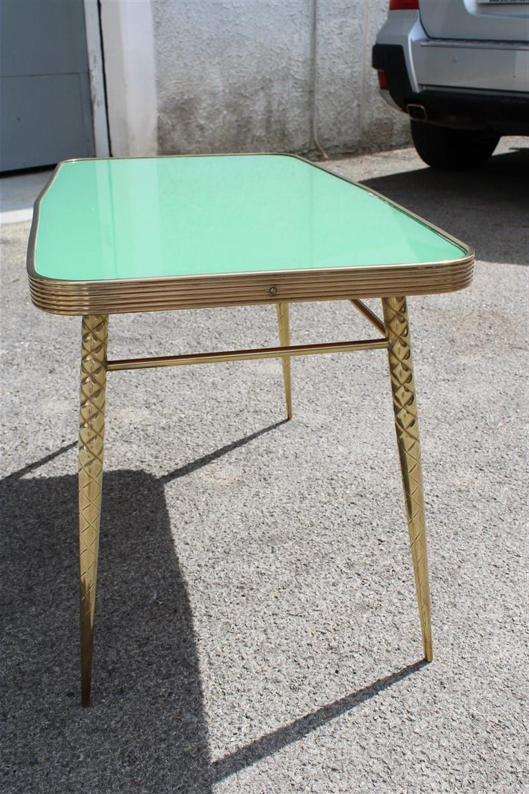 Rectangular Coffee Table Midcentury Italian Design Solid Brass Gold Glass Green For Sale 5