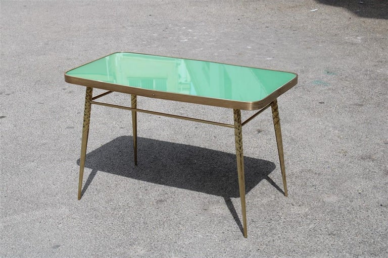 Rectangular coffee table midcentury Italian design solid brass gold glass green.