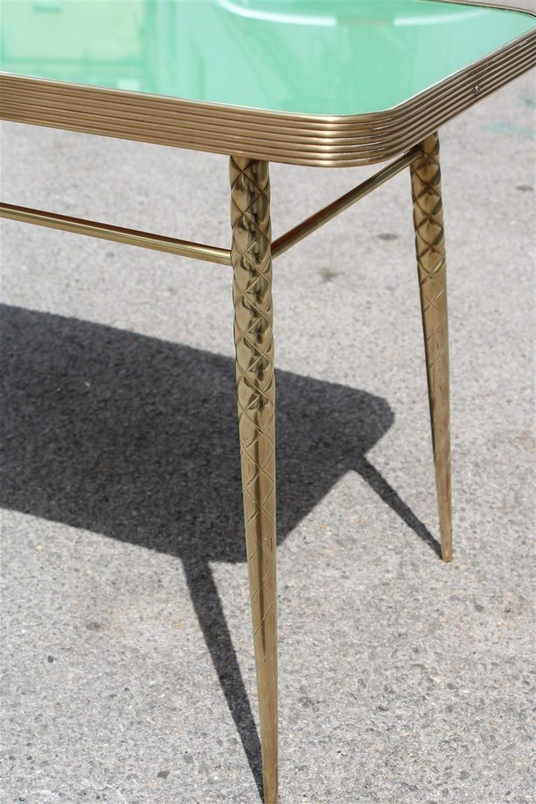 Mid-Century Modern Rectangular Coffee Table Midcentury Italian Design Solid Brass Gold Glass Green For Sale