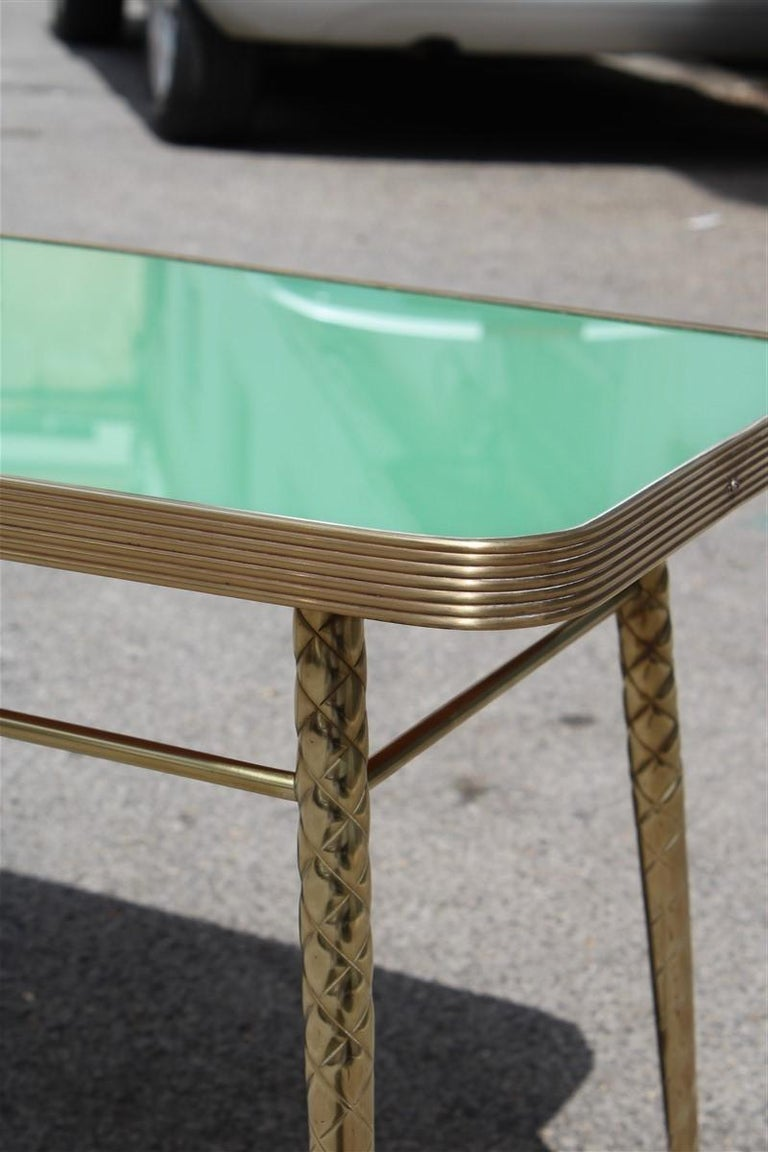 Rectangular Coffee Table Midcentury Italian Design Solid Brass Gold Glass Green In Good Condition For Sale In Palermo, Sicily