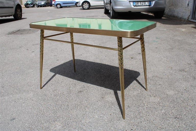 Mid-20th Century Rectangular Coffee Table Midcentury Italian Design Solid Brass Gold Glass Green For Sale