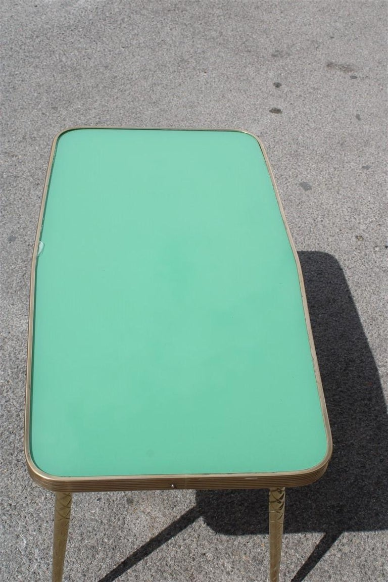 Rectangular Coffee Table Midcentury Italian Design Solid Brass Gold Glass Green For Sale 1