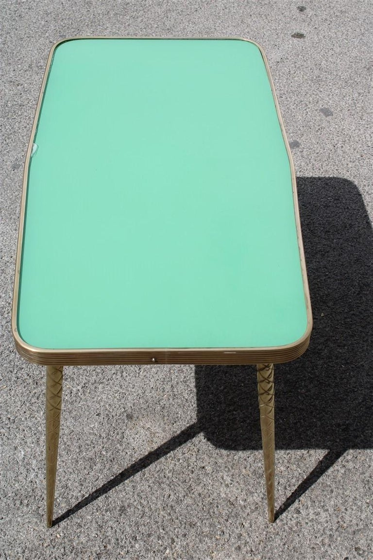 Rectangular Coffee Table Midcentury Italian Design Solid Brass Gold Glass Green For Sale 3