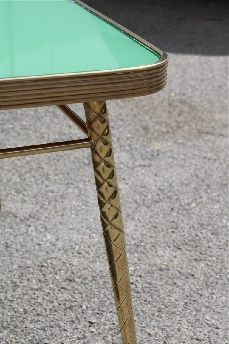 Rectangular Coffee Table Midcentury Italian Design Solid Brass Gold Glass Green For Sale 4