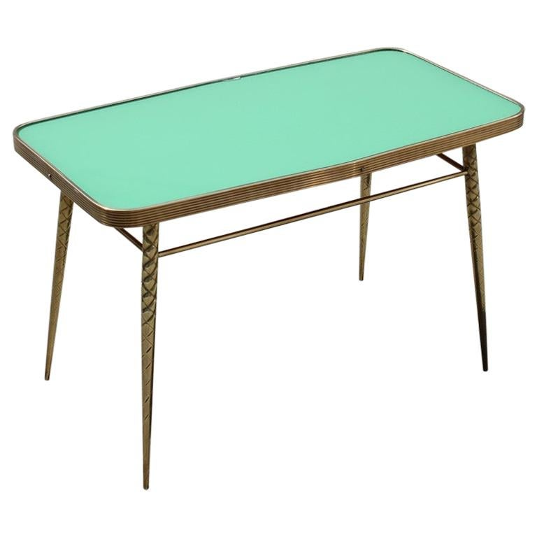 Rectangular Coffee Table Midcentury Italian Design Solid Brass Gold Glass Green For Sale