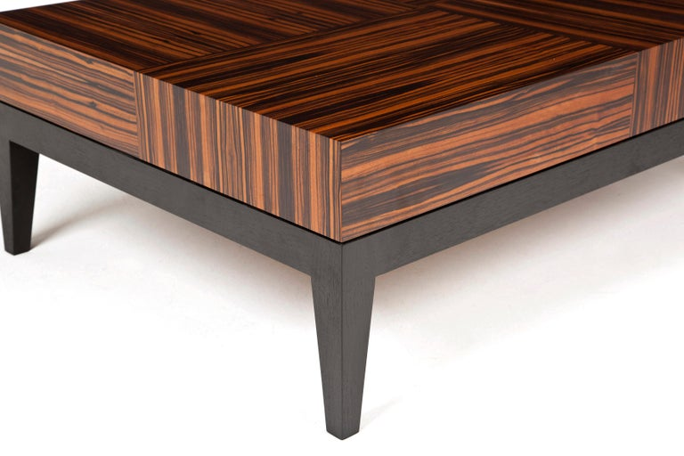 Art Deco Rectangular Coffee Table with Geometric Macassar Patterning For Sale