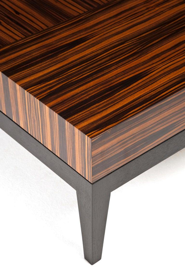 Irish Rectangular Coffee Table with Geometric Macassar Patterning For Sale
