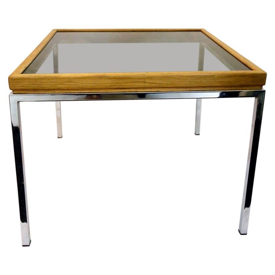 Rectangular Coffee Table with Smoke Glass and Chrome Legs, 1970s