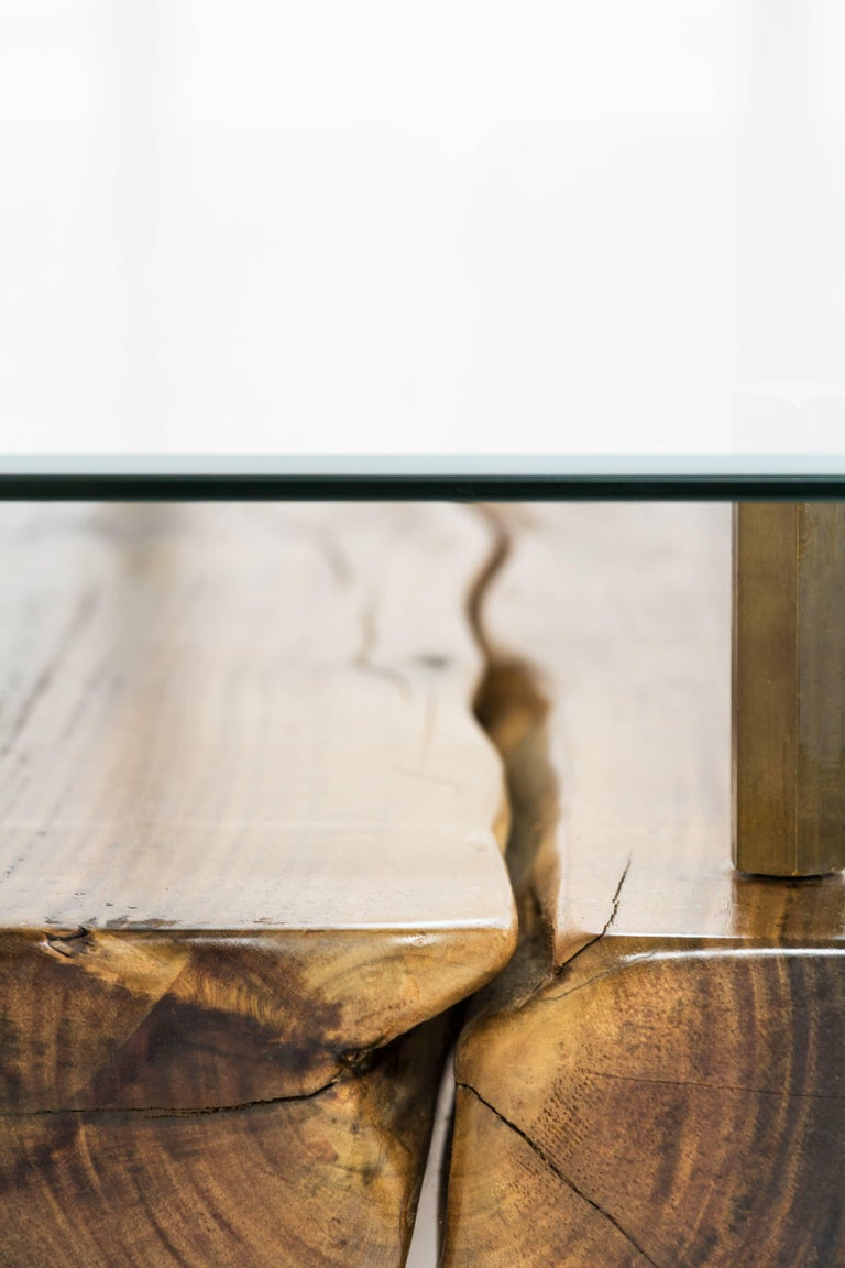 Rectangular Glass Coffee Table: Rectangular Connection Of Mahoe Wood, Brass Legs And Glass