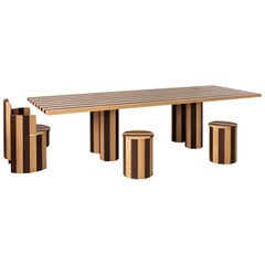 Rectangular Cooperage Dining Table in Striped Oak by Fort Standard, In Stock