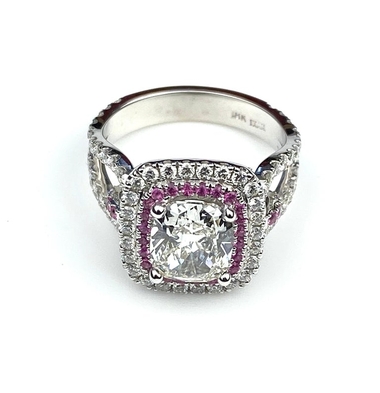 Contemporary Rectangular Cushion Diamond Engagement Ring with Diamond and Pink Sapphire Halo For Sale