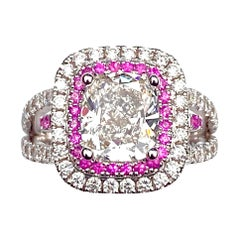 Rectangular Cushion Diamond Engagement Ring with Diamond and Pink Sapphire Halo