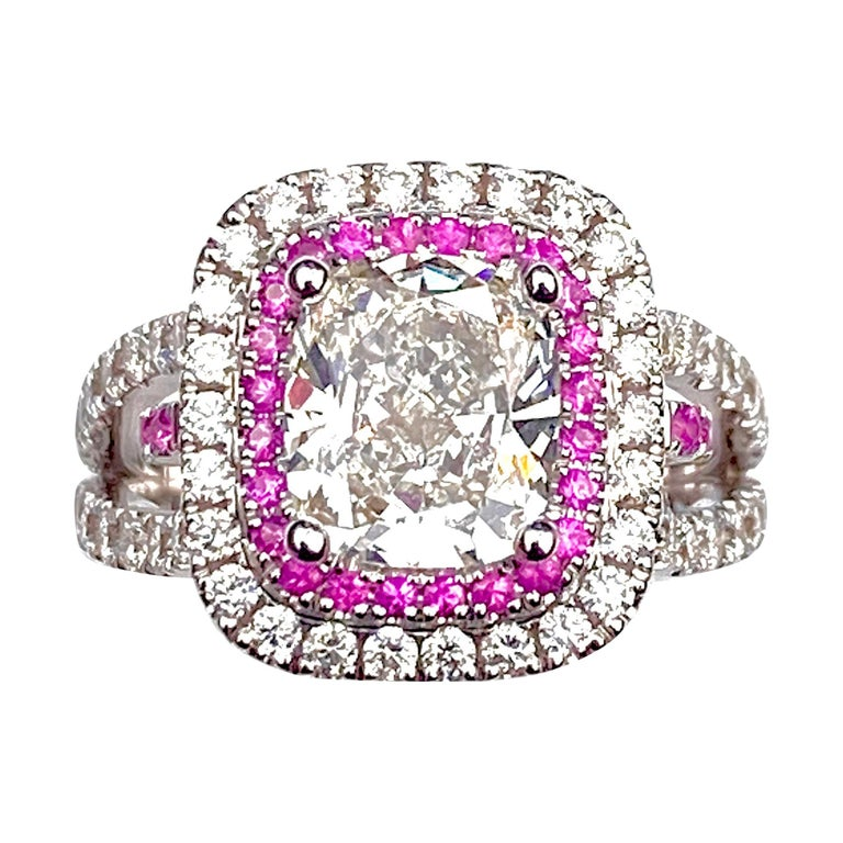 Rectangular Cushion Diamond Engagement Ring with Diamond and Pink Sapphire Halo For Sale