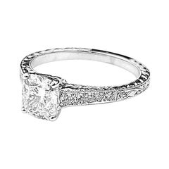 Rectangular Cushion Solitaire Diamond Engagement Ring with Milgrain Detail