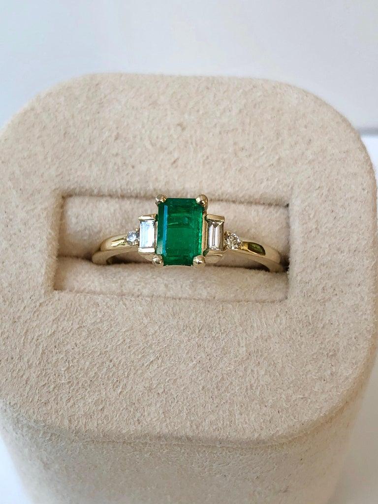 Emerald Cut Rectangular Cut Emerald and Diamond Ring Gold For Sale