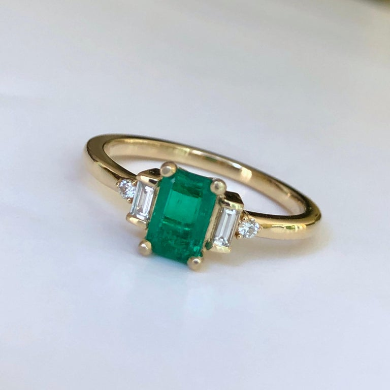 Rectangular Cut Emerald and Diamond Ring Gold For Sale 1