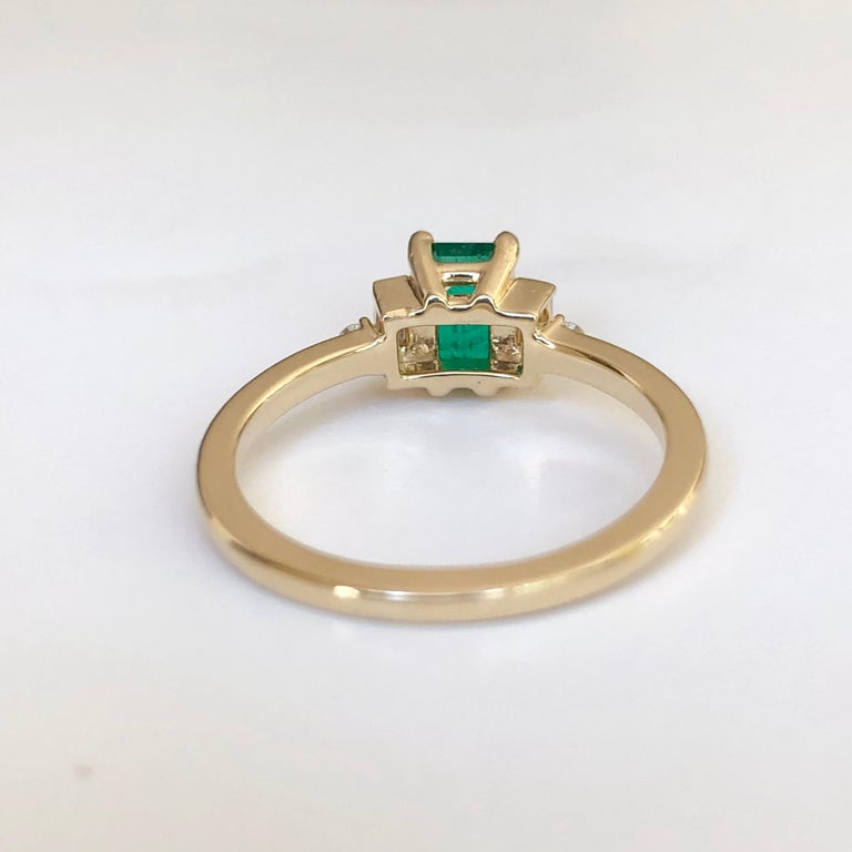 Rectangular Cut Emerald and Diamond Ring Gold For Sale 3