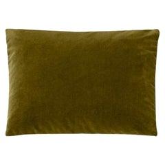 Molteni&C Rectangular Decorative Cushion Olive Green Velvet