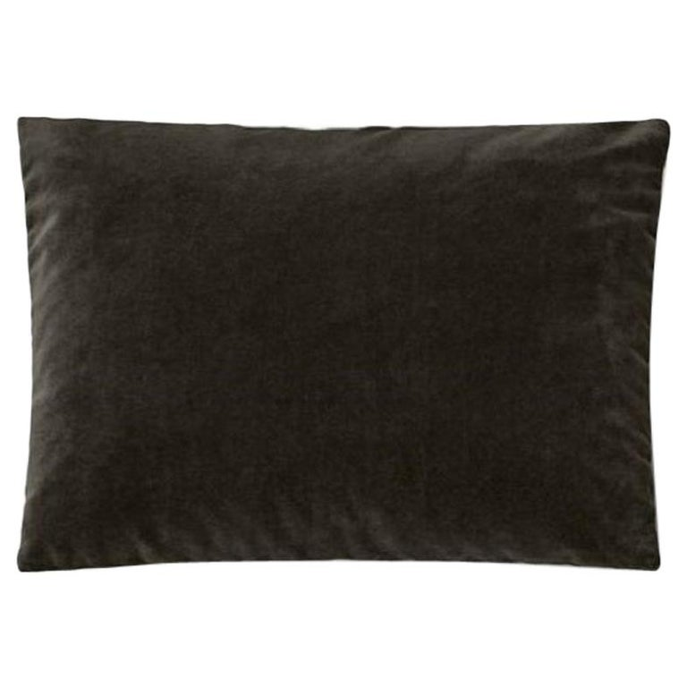 Molteni&C Rectangular Decorative Cushion Dark Grey Velvet For Sale