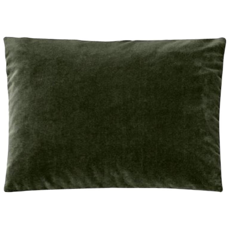 Molteni&C Rectangular Decorative Cushion Olive Green Velvet For Sale