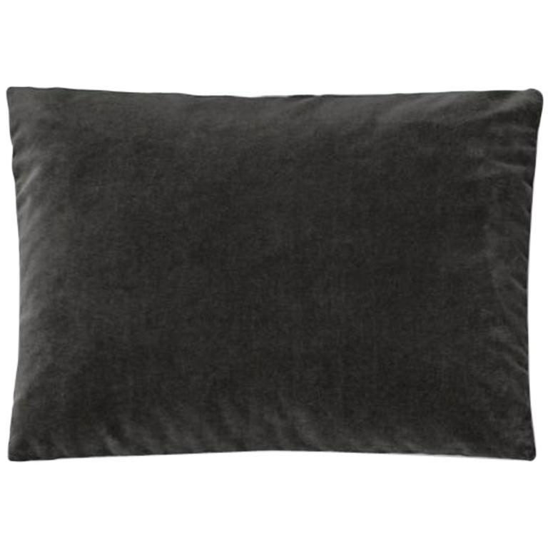 Molteni&C Rectangular Decorative Cushion Dark Grey Velvet