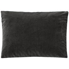 Molteni&C Rectangular Decorative Cushion Dark Grey Velvet