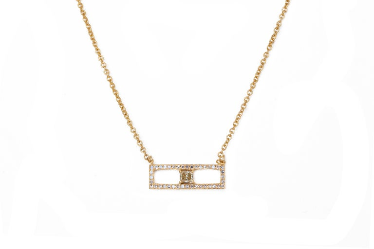 Rectangular diamond bar necklace with fancy yellow colored diamond in 18k yellow gold.